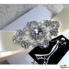 Rhinestone applique, Crystal applique, beaded applique for DIY wedding sash, garter, headband, headpiece. Nr 7. $14.99, via Etsy.