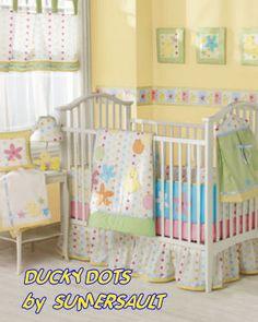 baby yellow polka dots ducks baby nursery crib bedding set