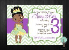 TIANA Birthday Invitation princess and the frog por T3DesignsCo, $12.99