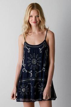 American Eagle Outfitters Navy Blue American Eagle Sequined Chiffon Slip Dress, Womens