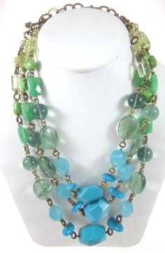 STEPHEN DWECK Turquoise Quartz Beaded Multistrand Graduated Necklace | eBay