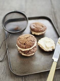 brownie cookies with maple and bourbon buttercream by fruitcakey