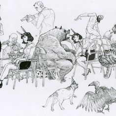 Cat & Vulture Amazing Drawings, Detailed Drawings, Beautiful Drawings, Junggi Kim, Koi Art, Graphic Novel Art, Kim Jung, Art Story, Doodle Drawings