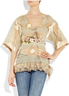 ONE VINTAGE gold sheer silk-organza tunic with a Russian floral painted waistband that self ties at back. Top has wide half sleeves, a lace hem, V-neck, embroidered and silk-satin panels