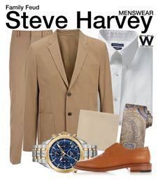 """""""Family Feud"""" by wearwhatyouwatch ❤ liked on Polyvore featuring Joseph, Croft & Barrow, Steve Harvey, Bulova, Robert Clergerie, men's fashion, menswear, television and wearwhatyouwatch"""