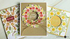 More Wreath Builder Card Ideas - Jennifer McGuire Ink Wondrous Wreath, Jennifer Mcguire Ink, Handmade Greetings, Thanksgiving Cards, Fall Cards, Christmas Cards, Card Tutorials, Video Tutorials, Flower Cards