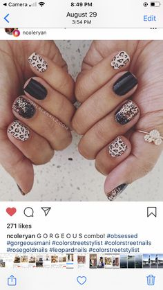 Black Nails With Glitter, Black Manicure, Rose Gold Nails, Glitter Nails, Nail Color Combos, Nail Colors, Leopard Nails, Color Street Nails, Nail Wraps