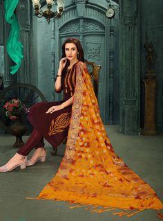 Brown Chanderi Silk Readymade Kameez With Churidar 129882 Churidar, Salwar Kameez, Designer Punjabi Suits, Indian Ethnic Wear, Salwar Suits, Sari, Silk Suit, Brown, Model