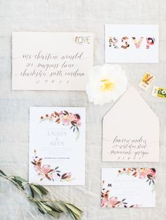 Floral Wedding Stationery // Photography ~ The Happy Bloom