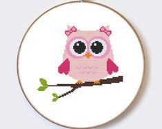 This wonderful cross stitch pattern can embroider a beginner. ❀❀❀ Size pattern: ❀❀❀ Owl In Hat On Branch Fabric : 14 count Stitches : 109 x 67
