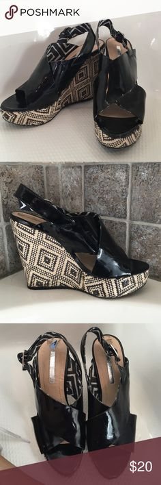 Wedges BCBG Generation black wedges.   These have been worn and are not new.   There is some scuffing of the straps. BCBGeneration Shoes Wedges