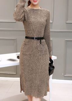 Side Slit Long Sleeve Round Neck Sweater Dress on sale only US$33.48 now, buy cheap Side Slit Long Sleeve Round Neck Sweater Dress at lulugal.com