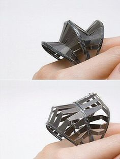 Architectural Rings - 3D structured designs; jewellery architecture; sculptural contemporary jewellery // Clara Cho