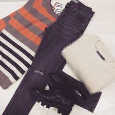 colori autunnali  Jeans e maglioncino righe @aniyeby • Maglia @odietamofashion • Scarpe #masque   #outfitoftheday #super #cool #fw15 #streetstyle #love #fashion #itgirl #glamour #fashionvictim #like4like #shopping #loveit #instalike #instafashion #ElementiNettuno