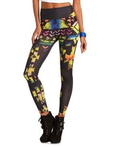 high waisted neon tribal legging