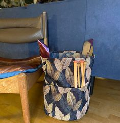Fabric Basket, My Pocket, Brocade Fabric, Knitting Needles, Two By Two, Crafting, Homemade, Sewing, Diy