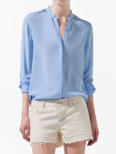 Elegant Stand Collar Long Sleeve Solid Color Cotton Shirt For Women, BLUE, M in Blouses | DressLily.com