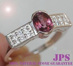 RARE PURPLE SPINEL & WHITE SAPPHIRE RING SOLID 925SS S#7  RETAIL PRICE WORTH OVER $650.00 + GEM REPORT
