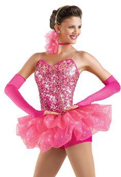 Sequin Bubble Skirt Biketard; Weissman Costumes