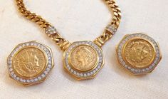 Vintage Gold Chain Roman Coin Rhinestone Necklace Earring Set Free Shipping   eBay