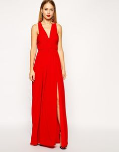 ASOS COLLECTION ASOS Ruched Cross Strap Maxi Dress