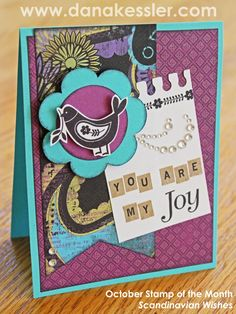 """""""You are my Joy"""" Card using the October SOTM Scandinavian Wishes featuring Laughing Lola Papers and Artbooking Cricut Cartridge from CTMH."""