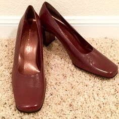 "Leather Stacked Heels Super comfortable! Like new with no flaws! Soft leather, maroon color 2 1/2"" stacked heel!❤️ These are classic beautiful shoes! Price is firm now. Bandolino Shoes Heels"