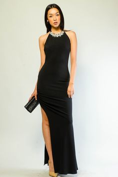 MISS ELEGANT SLIT LONG DRESS $30.99