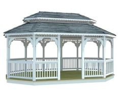 14' x 32' Vinyl Oval Double Roof Gazebo by Fifthroom. $21299.00