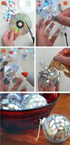 One of the best ways to decorate for the holidays is by putting up ornaments! Check out this pin to see so many different DIY holiday ornaments! This week at The Zone, guests used CD pieces to decorate their ornaments and they all looked great! Diy Christmas Ornaments, Homemade Christmas, Christmas Decorations To Make, Christmas Projects, Holiday Crafts, Holiday Fun, Christmas Holidays, Christmas Tree, Frozen Christmas