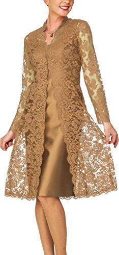 D Women's Sheath Short Satin Mother of The Bride Dress with Lace Jacket Gold Stylish Dresses, Fashion Dresses, Dress Brokat, Plus Size Party Dresses, Short Dresses, Formal Dresses, Bride Dresses, Wedding Dresses, Lace Jacket