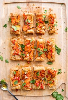 Sweet potato tart with garlic chili oil