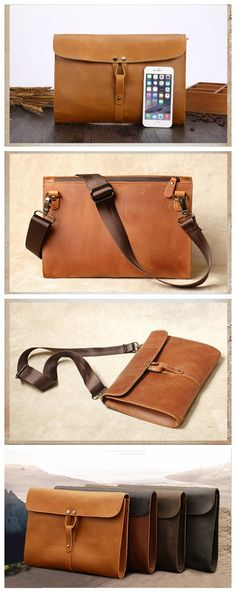 Handmade Genuine Natural Leather Clutch, Messenger Bag, Shoulder Bag