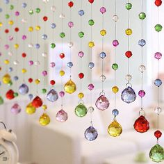 Luxury Color Crystal Glass Beads Custom Made Window Door Curtain, Room Divider