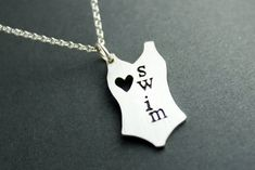 I love swim necklace by AbellaBlue on Etsy