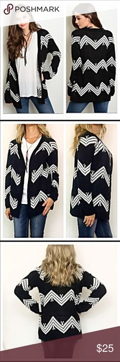 Chevron knit slouchy sweater Adorable!  Perfect for layering with an oversized fit. Brand new.  Never worn. Sweaters Cardigans