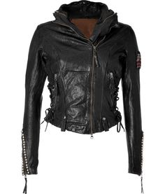 TRUE RELIGION  SEE DETAILS HERE: Black Laced Leather Jacket
