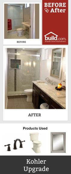 Find some inspiration for your remodeling project with this amazing before and after bathroom remodel. Find the right products you need to get this look! What is your favorite part about this bathroom transformation?