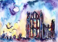 whitby abbey - mounted original painting
