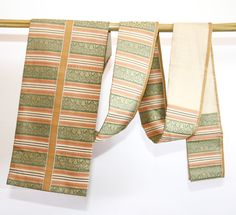 Japanese Striped Bronze and Green Obi,  Table Runner, Home Decor by CJSTonbo on Etsy