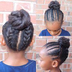 Kids natural hair style cornrows bun