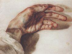 Théodore Géricault (1791-1824)  The Artist's Left Hand, 1823  Black Pencil, Red Chalk Wash, Blue Pencil - 23 x 29.7 cm  Paris, Private Collection