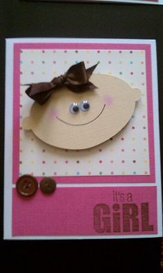 Pink and brown girl baby shower invite. Made with the doodle charms cricut cartridge.