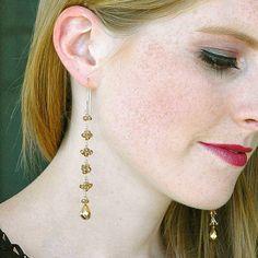 Rare Champagne Garnet Dangle Earrings / 14K Gold / by shopshrew