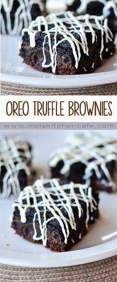 Oreo Desserts, Mini Desserts, Easy Desserts, Delicious Desserts, Yummy Food, Plated Desserts, Tasty, Oreo Truffle Brownies, Oreo Cheesecake