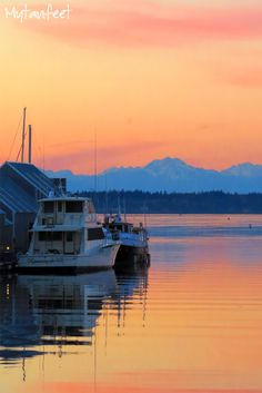 Boat at the harbor in Olympia, Washington State. Olympic Mountains in the distance