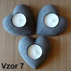 Svietnik na čajovú sviečku-srdce. Súprava troch kusov.