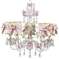 Chandelier - 5-Arm - Flower Garden - Ivory, Sage & Pink w/ Shade   Jack and Jill Boutique