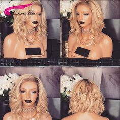 8A Ombre Blonde Lace Front Wig For Black White Women Indian Virgin Human Hair Full Lace Wig Body Wave ombr 2#/613 Short Bob Wigs