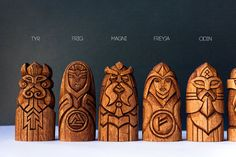 Scandinavian Gods Set.  Perfect gift Unique wooden statues: